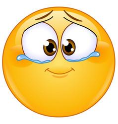 Emotional tears joy emoticon vector