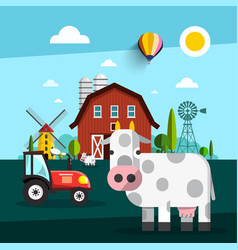 farm fith cow barn windmill and tractor vector image