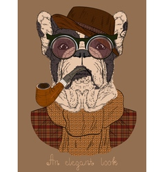 French bulldog with Tobacco Tube and glasses vector