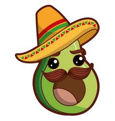 Fresh avocado with mexican hat kawaii character vector