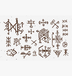 Futhark norse islandic and viking runes set magic vector