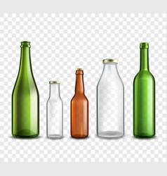 Glass bottles transparent vector image