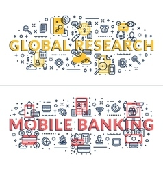 Global Research and Mobile Banking headings vector