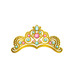 Golden queen crown with precious pink and blue vector