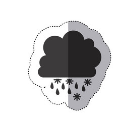 Gray silhouette sticker with cumulus of clouds vector