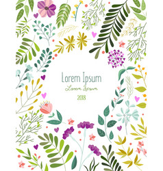 Greeting card template with flowers leaves herbs vector