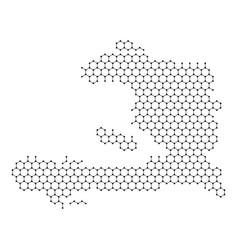haiti map from abstract futuristic hexagonal vector image