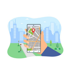 hand holding mobile phone with navigation app vector image
