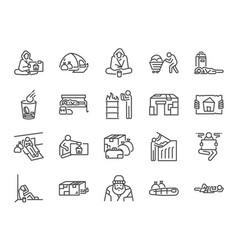 Homeless line icon set vector