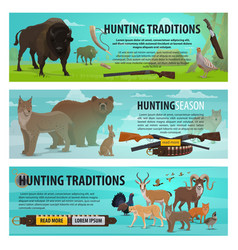 hunting animals birds and rifles vector image