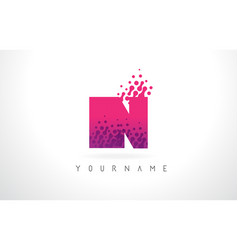 in i n letter logo with pink purple color and vector image