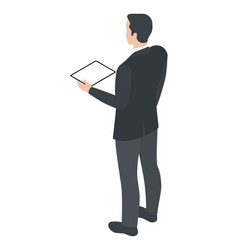 isometric man with tablet pc vector image