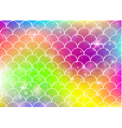 kawaii mermaid background with princess rainbow vector image