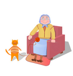 knitting grandmother together and vector image