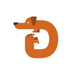 Letter d is dog pet font dachshund alphabet vector