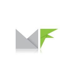 Letter mf folding paper logo vector