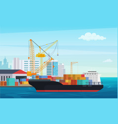 Logistics truck and transportation container ship vector