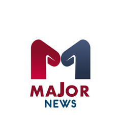 Major news letter m icon vector