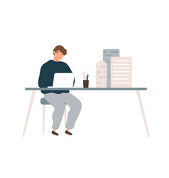 Male architect designer work on laptop with mini vector