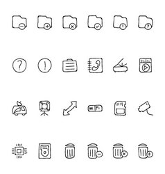 Media Hand Drawn Doodle Icons 7 vector