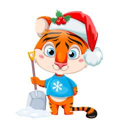 Merry christmas cute cartoon character tiger vector