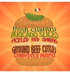 Mexican burger concept fastfood vector