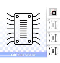 microchip circuit simple black line icon vector image