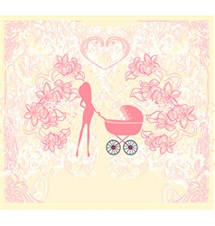 mother with baby stroller vector image