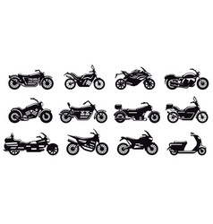 motorcycle vehicle silhouette modern speed race vector image