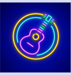 Neon icon of acoustic guitar vector