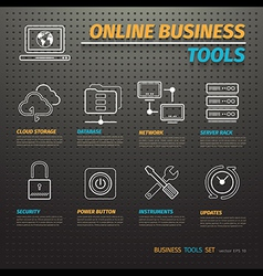 Online Business Tools on Dark Pegboard vector image