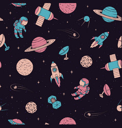 pattern with cosmonaut satellites planet rocket vector image