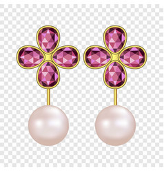 Pearl ruby earrings mockup realistic style vector
