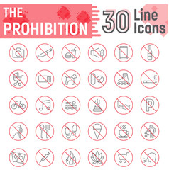 prohibition thin line icon set forbidden signs vector image