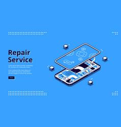 repair service isometric landing mobile fixing vector image