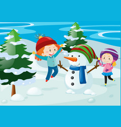Scene with kids and snowman vector
