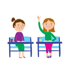 Schoolgirls sitting at their desks and one girl vector