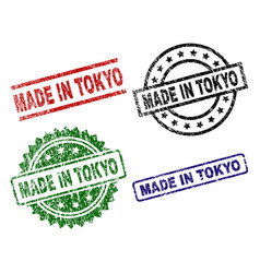 scratched textured made in tokyo seal stamps vector image