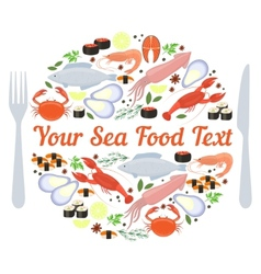 Sea food label vector