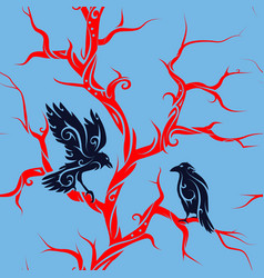 Seamless tree with crows vector