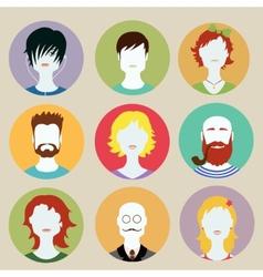 set avatar flat design icons vector image