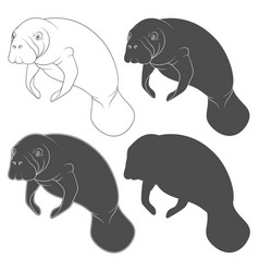 set black and white with manatee vector image