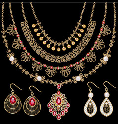 Set gold jewelry pendants necklaces on a chain vector