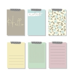 Set of 6 creative journaling cards and notes vector