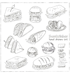 Set of sandwiches vector