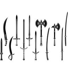 set stencils fantasy swords and axes vector image