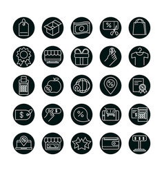 Shopping block and line style icon set vector