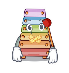 silent xylophone with character wooden on table vector image