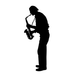 Silhouette of musician playing the saxophone on a vector