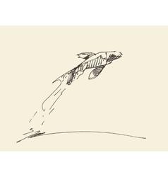 Sketch fish jumping water vector